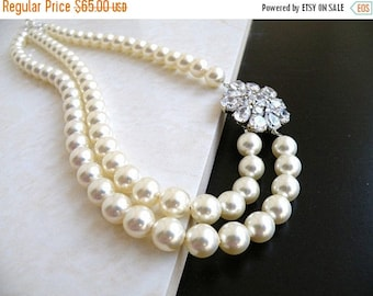 Summer Sale Bridal Necklace Ivory Swarovski Double Strand Silver Brooch BN5
