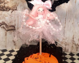 Halloween cake topper halloween ghost pick pink ghost vintage retro inspired ghastly ghost girl party decor party favor cupcake pick