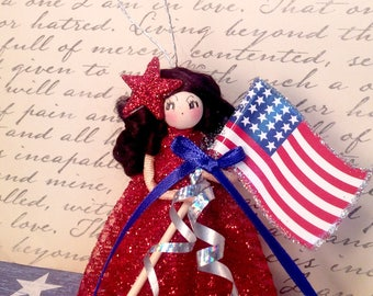 Vintage inspired july 4th decor 4th of july ornament doll red white blue american flag atomic retro inspired party decor