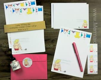 The Beach Girl's Letter Writing Set - Bikini Beach Surfer Girl Writing Paper