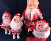 Lot of 4 Vintage Santa Claus Dolls or Christmas Decorations