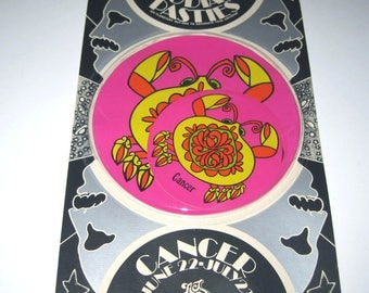 Vintage 1960s or 1970s Set of 6 Zodiac Pasties or Stickers in Original Package Cancer