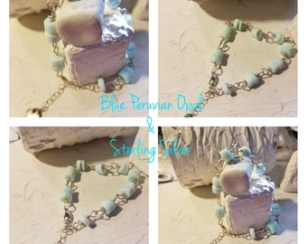 Blue Peruvian Opal and Sterling Bracelet