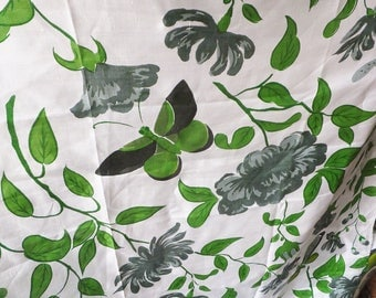 Mid Century Fabric with Green & Gray Floral Butterflies Large Print Floral Faux Silk Botanical Oriental Pattern Print Vintage 1960's Fabric