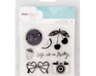American Crafts Dear Lizzy Happy Place Collection Clear Acrylic Stamps