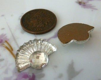 4 Vintage Glass Cabochons, 1950s CLEAR Art Deco Style Fan Shape, Gold Foiled Flat Backs, Made in Germany, 13x17mm, 4 pcs. (C39)