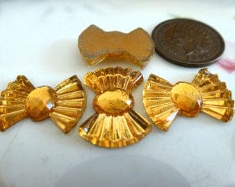 4 Vintage Glass Cabochons, 1950s Topaz Art Deco Style Bow Shape, Gold Foiled Flat Backs, Made in Germany, 13x18mm, 4 pcs. (C39)