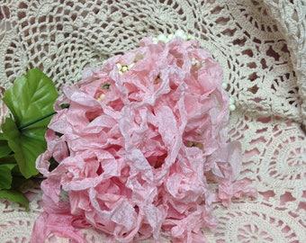 Pink Seam Binding Ribbon Hand Crinkled Ribbon