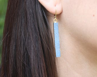 Blue druzy bar earrings,long blue bar earrings,gift for her,gift under 100,geometric earrings,elongated gold earrings,blue druzy earrings
