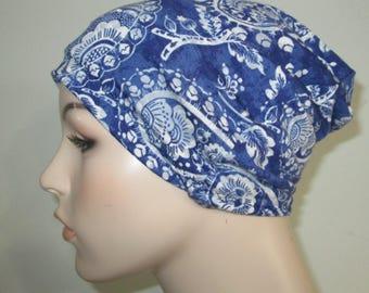 Chemo Hat Beanie Blue Paisley Lycra Sleep Cap, Cancer Hat, Alopecia