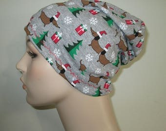 Chemo  Beanie  Hat Women's Christmas Wiener Dog  Hat Play Sleep Cap, Cancer Hat, Alopecia   Chemo Hat
