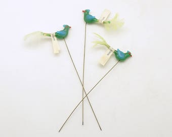 Vintage Glass Bird Picks Corsage Picks