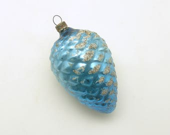 Vintage Christmas Ornament Glass Aqua Pine Cone Pinecone Mid Century