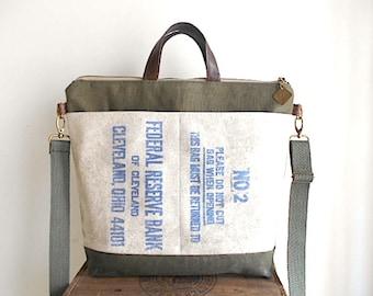 Military canvas, vtg bank carryall tote, laptop bag - Federal Reserve Cleveland Ohio - eco vintage fabrics