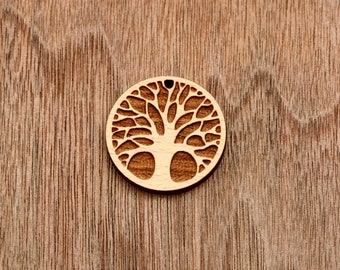 4pcs Tree of Life Round wooden pendant, wooden tag (WB 506)