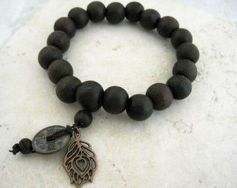 Sandalwood Beaded Bracelet Zen Chinese Charms