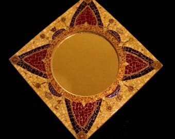 Steampunk Mosaic Mirror Wall Art Filigree Gears Clockworks Stained Glass Victorian Art