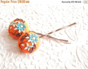CLEARANCE - 2 orange floral oval rhinestone  bobby-pins, hair accessory, womens accessory, fashion accessory, floral hairpin