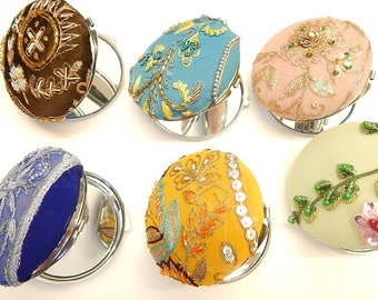 Beaded compact mirrors, round mirrors, double mirror compact, use as a locket with a picture, bridal gifts