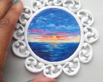 "Mini Oil Painting Sunrise Seascape with Handmade Frame 2.5"" READY to SHIP"