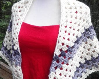 Granny Square Shawl White and Gray Wool Blend READY TO SHIP