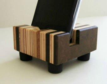 Wood iPhone Dock, Charging Stand, Docking Station, Modern, iPhone 5 Stand, iPhone 6, and Similar Sized Phones, Striped Design, Made in USA