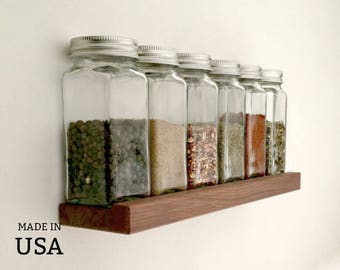 Spice Shelf Recycled Modern Wood Spice Rack, Modern, Small, Wall Mount, Low Profile, With or Without Square Glass Jars
