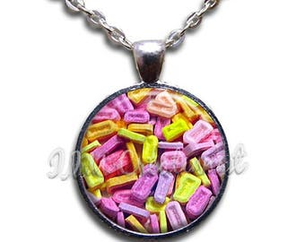 25% OFF - Pez Candy Pattern Glass Dome Pendant or with Chain Link Necklace BF138