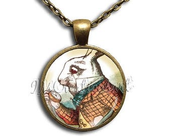 25% OFF - Alice In Wonderland Rabbit I'm Late - Round Glass Dome Pendant or with Necklace by IMCreations -  AW101