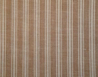 Cotton Homespun Fabric  | Wheat Ticking Stripe Fabric | Primitive Stripe Fabric |  35 x 44