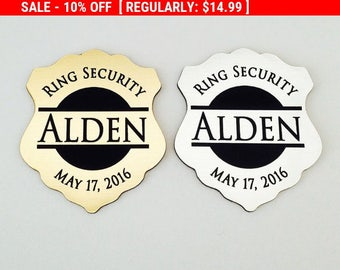Ring Security, Ring Bearer Gift, Ring Bearer Security Badge, Personalized Ring Bearer Badge, Groomsmen Gifts, Wedding Gift