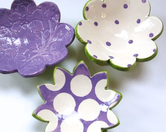 purple pottery Dish Set :) 3 ceramic serving flowers, whimsical hostess gift, candleholders, polka-dots, ring dish, soap dish