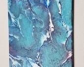 Original Abstract Fluid Painting #2 - 5x7 Museum Series Clayboard