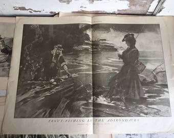 Antique Illustration Colliers Weekly 1901 Trout Fishing in the Adirondacks by Granville Smith