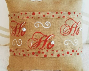 Handpainted Burlap Pillow Wraps for Christmas with Ho Ho Ho and jingle bells