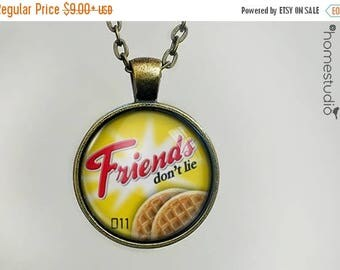 ON SALE - Friends Don't Lie : Stranger Things Necklace, Pendant Stranger Things Keychain Key Ring. Gift Present metal glass round jewelry
