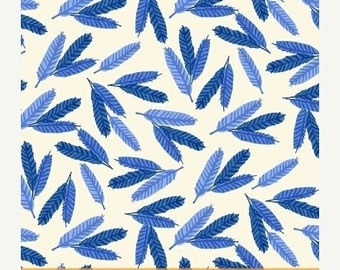 20EXTRA 20% OFF Flower Pedals Blue Feathers by Carolyn Gavin for Windham Fabrics