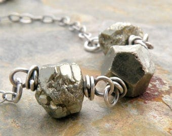 Pyrite Necklace For Women, Sterling Silver, Faceted Pyrite Necklace, Layering Necklace, Boho Pyrite Necklace, Fool's Gold Necklace, #4769