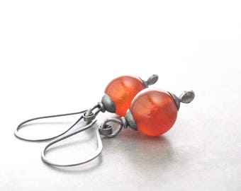 carnelian earrings, stone dangle earrings, silver earrings, rustic orange-red earrings, carnelian and silver jewelry, oxidized jewelry