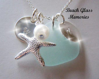 Sea Glass Necklace - Aqua Beach Glass  Personalized Starfish and Pearl Seaglass Necklace