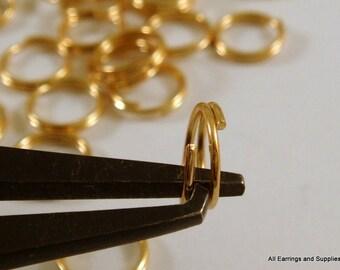 100 - 4mm Gold Split Ring Plated Steel 4mm Outside - 100 pc - F4203SR-G100