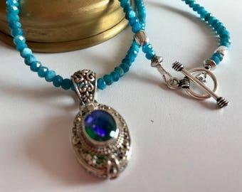 Apatite Necklace-Mystic Quartz Locket Pendant Necklace-Bali Silver Pendant