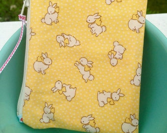 Bunny zipper pouch small zipper bag coin purse birthday gift sewing gift