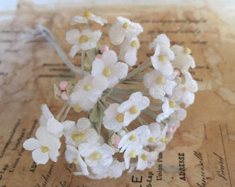 Vintage Millinery Cluster of Little Prairie Flowers Soft White