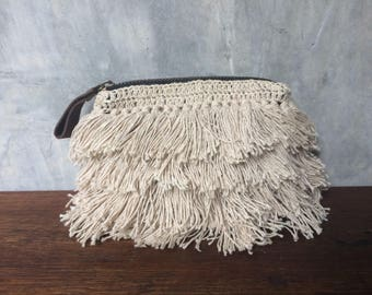 Free shipping Bohemian hemp fringe crochet cosmetic bag,purse,coin purse
