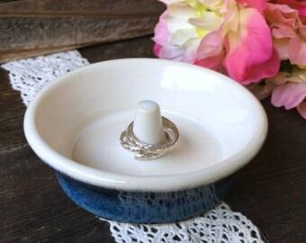 Blue Ring Holder - Ring Holder - Blue Stoneware - Ring Dish - Small Jewelry Holder - Ring Dish Holder - Ready to Ship