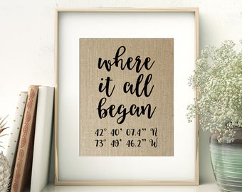 Where It All Began | GPS Coordinates Gift | Where We Met Location Burlap Print | Bridal Shower Wedding Gift for Couple