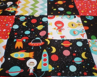 Unfinished Quilt top, space quilt top, Unfinished baby quilt top,quilt top,bright colored astronauts rocket quilt top,quilttop,Trip to Mars