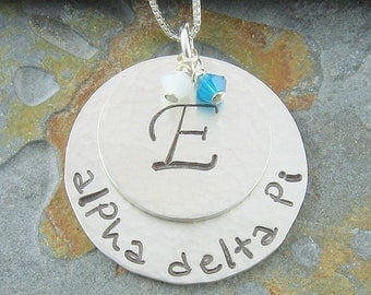 Alpha Delta Pi Necklace,ΑΔΠ Sorority Uppercase Monogram Initial Sterling Silver or 14K Gold Filled Pendant,ΑΔΠ Bid Day,Initiation/OLP
