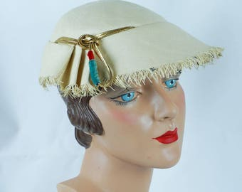 1950s Vintage Hat Ivory Straw Fringed with Rhinestones by Irene Sz 21